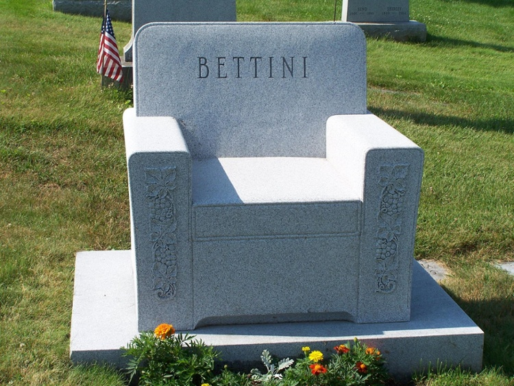 Rock of Ages Blue Gray Granite Reclining Favorite chair headstone-1