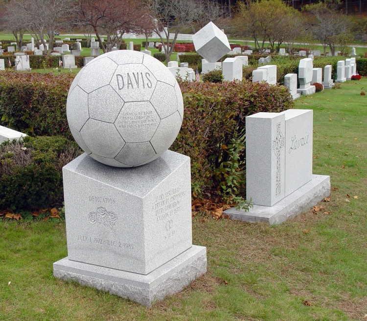 Rock of Ages Blue Gray Granite Soccer Ball Headstone Memorial-1