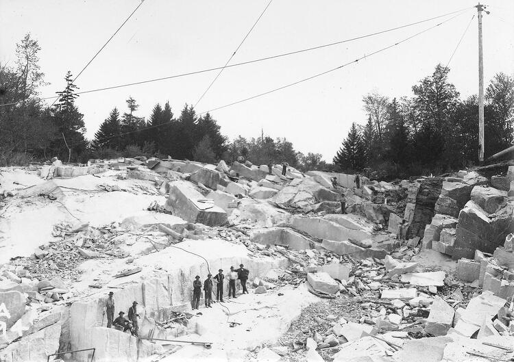 Black and White photo of Historical E.L. Smith Quarry in Barre Vermont