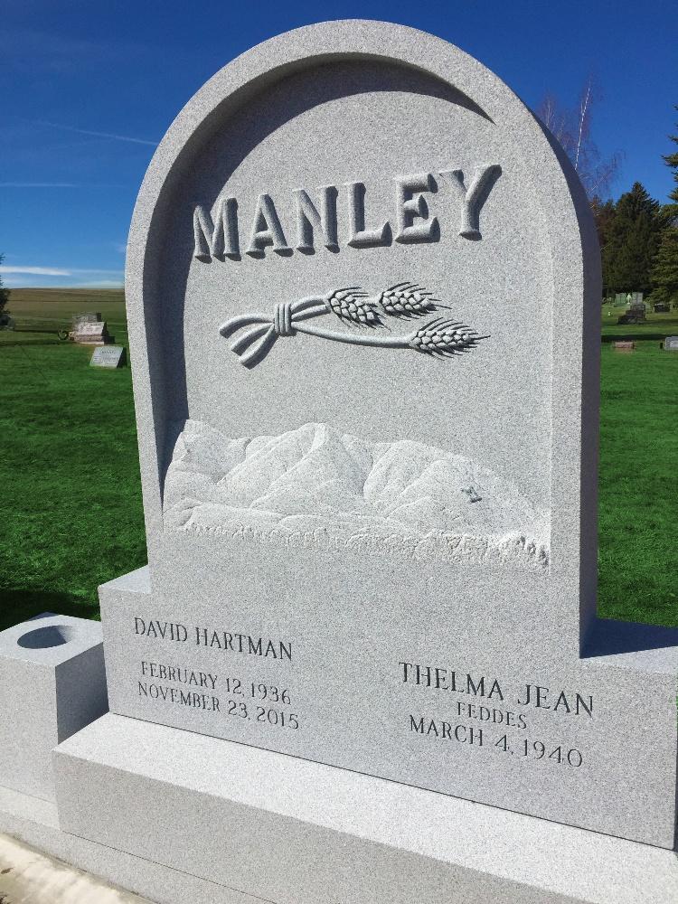 Goose Ridge Monuments_Manley_Companion headstone Rock of Ages granite Memorials_Blue Gray-1