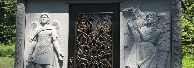 Vermont quarried craftsmanship mausoleum stone carving Black Mist granite